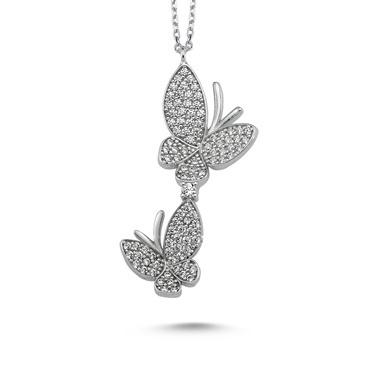 Online Takı Gümüş Kelebek Kolye Renkli